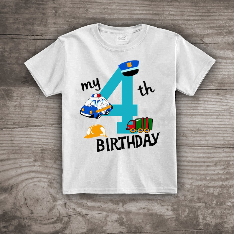 35cbd7b81 Birthday shirt for boys 4th birthday t-shirt Police Car   Etsy