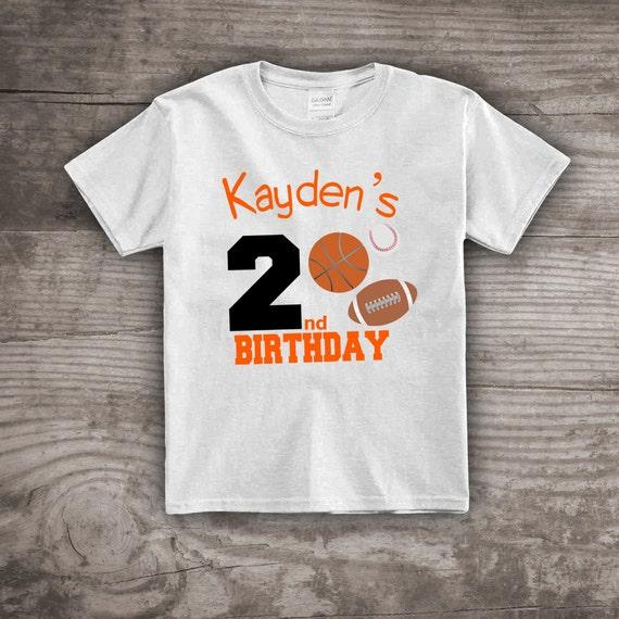 Sports Birthday Shirt 2nd Football Shirts For Kids Basketball Baseball