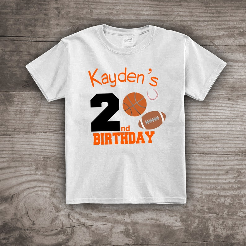b548ac6e477d2 Sports birthday shirt, 2nd birthday shirt, Football shirts for kids,  basketball, baseball