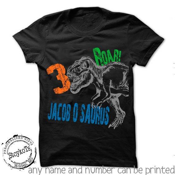 Dinosaur Birthday Shirt For Kids Personalized Halloween Tshirt 3rd