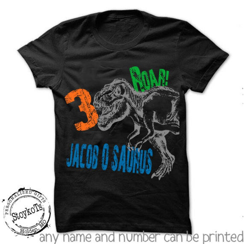 Dinosaur birthday shirt for kids personalized tshirt 3rd 2nd image 0