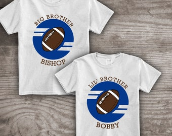 Personalized Football t-shirt for kids Sports birthday themed Big Brother Little Brother New baby pregnancy announcement Daddy and Me a301d1