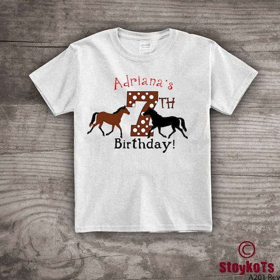 7th Birthday Shirt Horse Themed T For Kids Personalized Youth Clothing Tops Tees Gift Her
