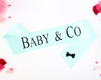 8a055290f52 Baby & Co Sash - Mommy To Be Sash - Mommy to Be - New Mom Sash - Baby Shower  Sash - Gender Reveal Sash - Tiffany Baby Shower