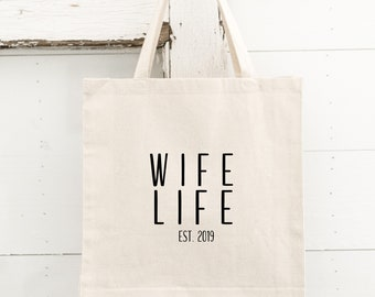 2a0fb7534fd Wife Life Tote - Honeymoon Tote - Bride Gift - Wedding Tote - Bachelorette  Party Tote - Personalized Tote - Mrs. Tote- Wife Life