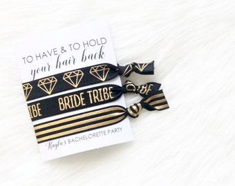 Bachelorette Hair Ties - Bachelorette Party Favor - Bachelorette Favor - Bride Hair Tie - Bride Tribe Hair Tie - Diamond Hair TIe