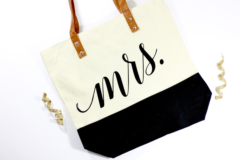 Mrs. Honeymoon Tote  Bride Tote  Mrs. Bag  Honeymoon Bag  image 0