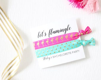 Let's Flamingle Bachelorette Party - Bachelorette Hair Ties - Bachelorette Party Favor - Bachelorette Favor - Flamingo Hair Ties
