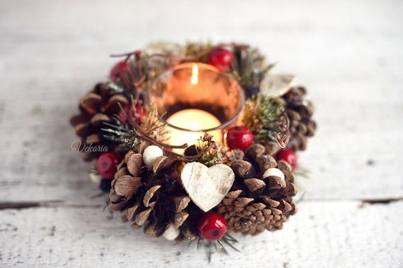Kerst Tafel Decoratie : Kegel kerststuk kerst tafeldecoratie kerst kandelaar kegels etsy