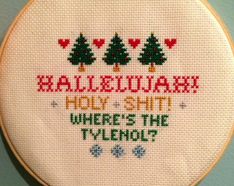 National Lampoon's Christmas Vacation Clark Griswold monologue cross-stitch pattern