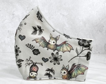 Cute Bats 3-layer Fabric Mask Reusable Washable Fabric Cotton Face Mask, Small Scale, Kawaii