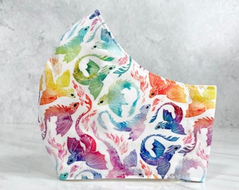 Rainbow Watercolor Dragons 3-layer Fabric Mask Reusable Washable Fabric Cotton Face Mask, Small Scale