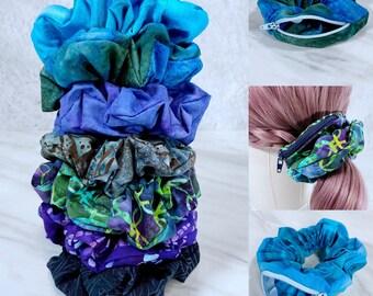 Batik Zipper Scrunchies, Stashie, Pocket Scrunchie, Hand Dyed Fabric