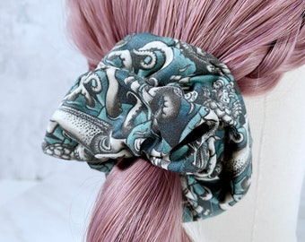 Sea Monster Zipper Scrunchies, Stashie, Pocket Scrunchie, Kraken, Giant Squid, Nautical