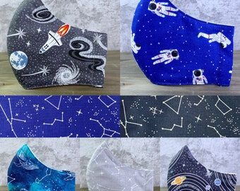3-layer Space Themed Reusable Washable Fabric Cotton Face Mask, Filter Pocket, Whale, Constellation, Planet, Solar System, Astronaut