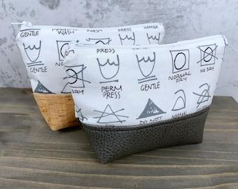 Wash Symbols Zipper Bag, Zip Pouch, Makeup Bag, Coin Purse, Purse, Clutch, Care Symbols, Sewing, Knitting, Crochet