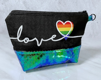 Pride Heart, Love is Love, Zip Pouch, Makeup Bag, Coin Purse, Purse, Clutch, Rainbow