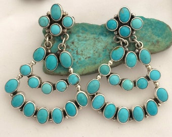 Vintage Native American Sterling and Turquoise Chandelier Drop Earrings