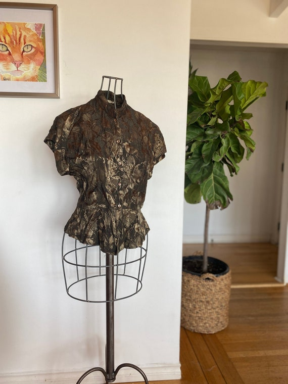 Vintage women's blouse / Green blouse / Medium / W
