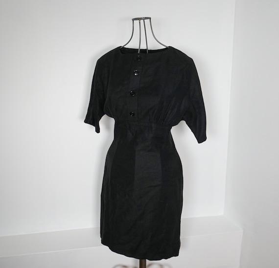 Vintage women's dress / Black dress/ Cotton dress