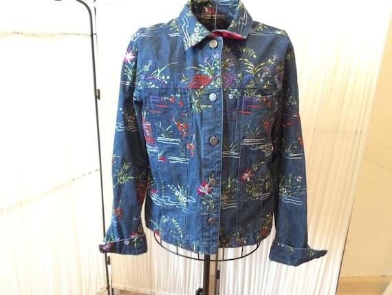 Vintage women's Jean Jacket / Denim jacket /  Embr