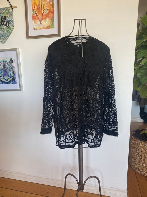 Vintage Women's Cardigan / Black cardigan / Sheer