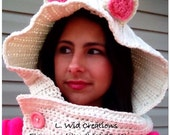 Crochet Kitty Cat Hooded Cowl-FREE SHIPPING