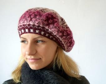 Hand knit wool Beret, patterned beret, Womens Knit Beret, fair isle, Knitted winter hat, scandinavian design, slouchy hat, Nordic warmTam.