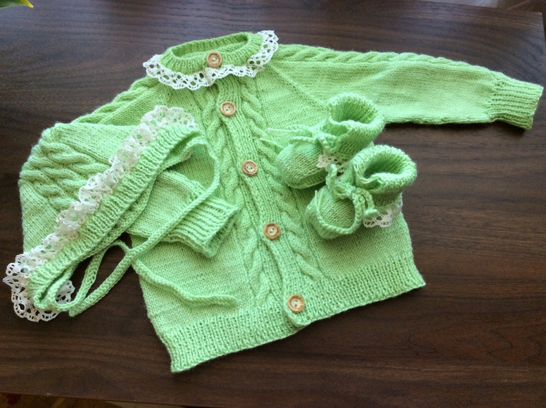 191929f0b Baby clothing set knitted baby sweater apple green with white