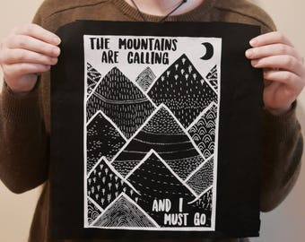 Screen Printed - Mountains Back Patch - 100% Cotton, Sew on Patch