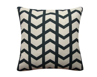 "Geometric Herringbone Pillow Cover, Scandinavian Pillow, 18""x 18"" Decorative Pillow, Black and White Minimalist 311"