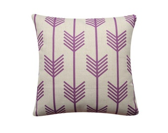 "Decorative Pillow Cover, Cushion Cover, Purple Arrow Pillow, 18""x 18"" Decorative Pillow, Geometric Cushion, Tribal Arrow Cushion  380"