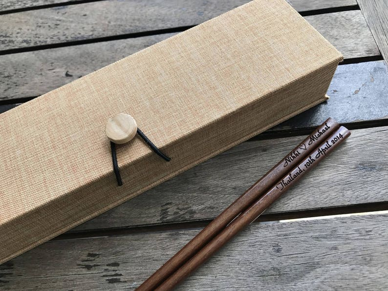 Personalized Engraved Wooden Chopsticks Dark Brown With Gift Box Event Gifts