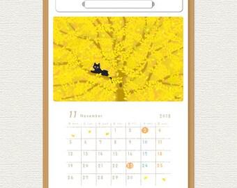 June Start ----TABINEKO Calendar 2018 (Wall hanging & desktop / design-A ) Cat Illustration Calendar B5 size