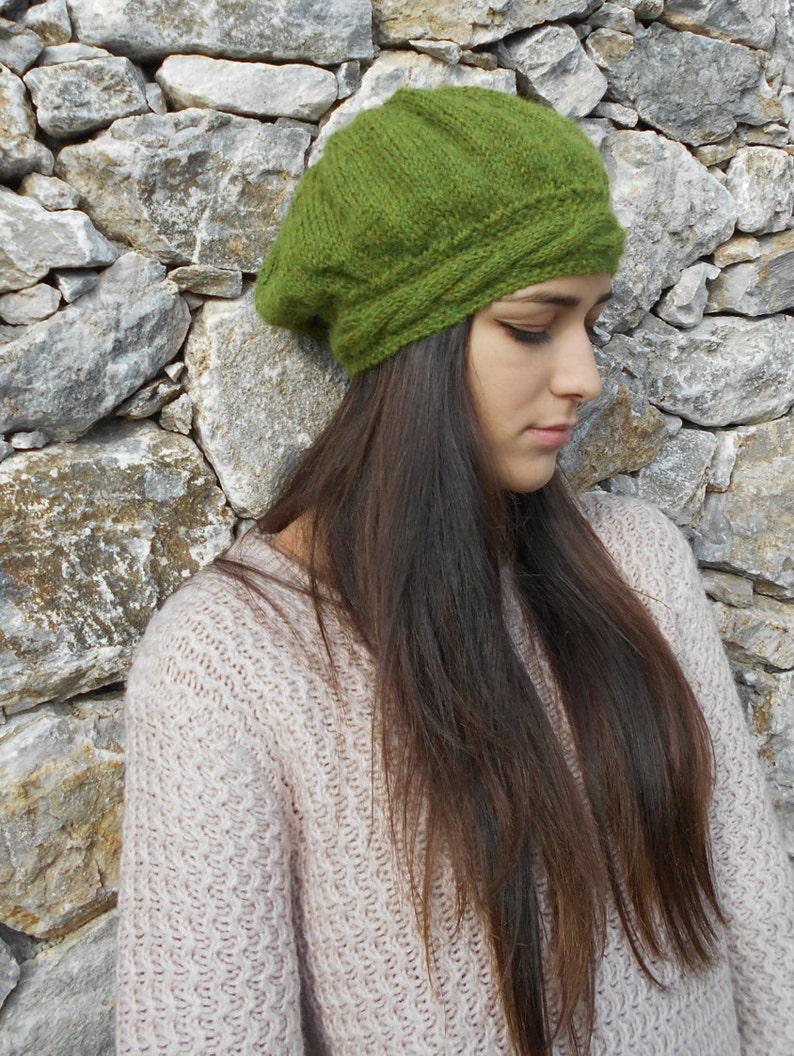 Basco berretto PURO ALPACA verde oliva cappello donna con  6b79a2cf320e
