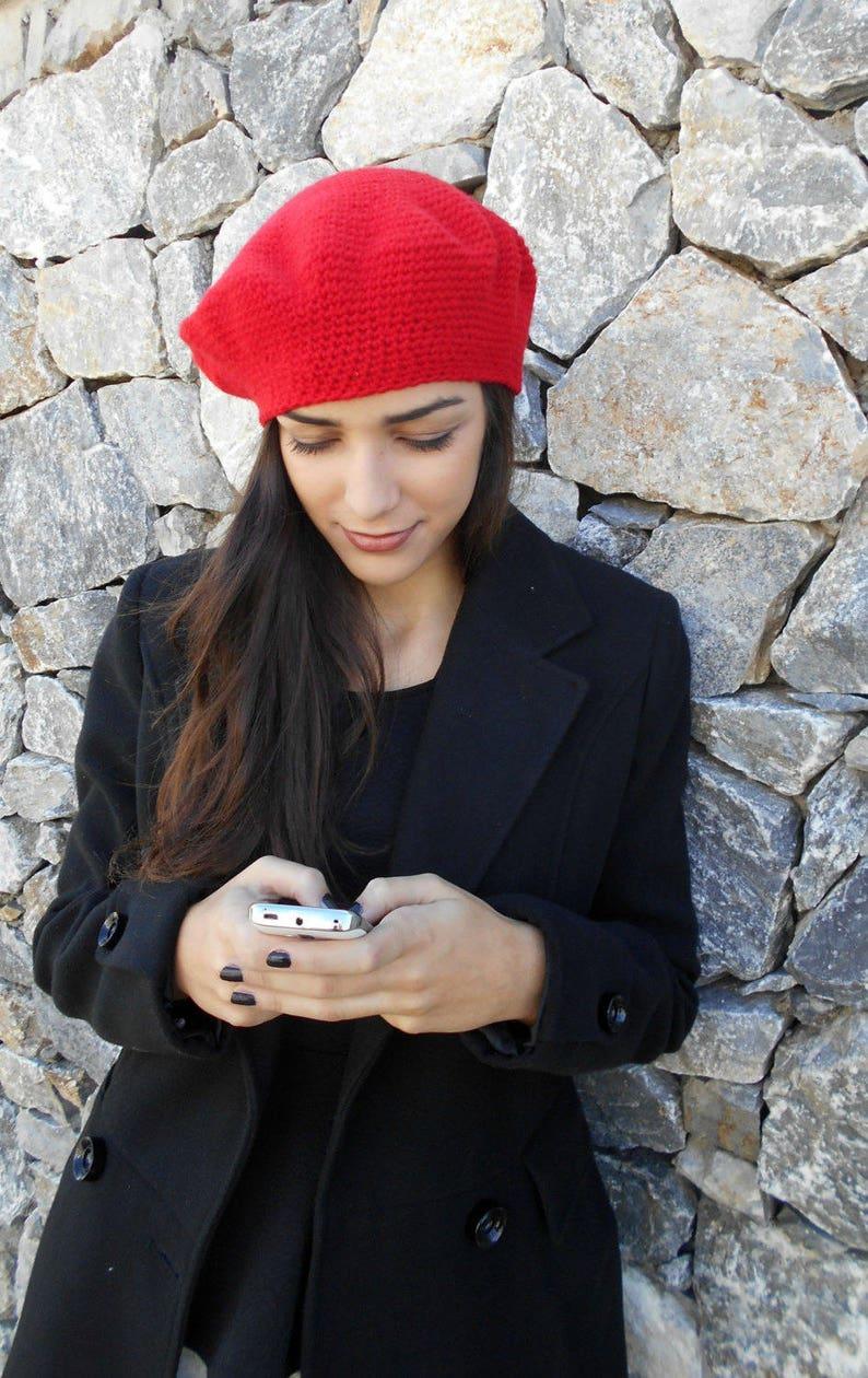 Basco a uncinetto puro cashmere cappello donna Rosso a  e5050bcf8a2b
