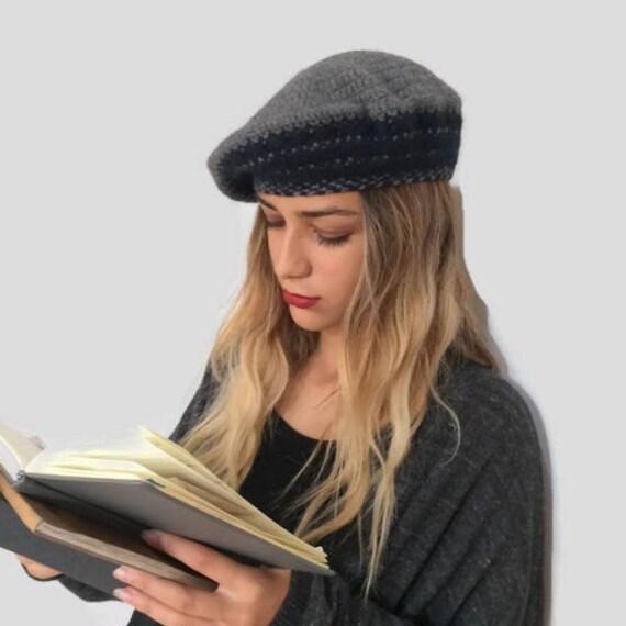 basco PURO CASHMERE all uncinetto cappello donna blu  2117b1206bb6