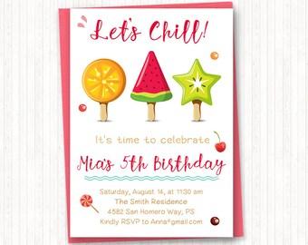 Popsicle Birthday Invitation, Summer Birthday, Girl Birthday Invitation, Summer Party, Fruits, Popsicle Theme, PRINTABLE - KG010