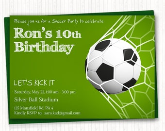 Soccer Birthday Invitation, Soccer Party, Sport Invitation, 5th, 6th, 7th, 8th, 9th, 10th, 11th, 12th - Digital Invites - PRINTABLE - KB001