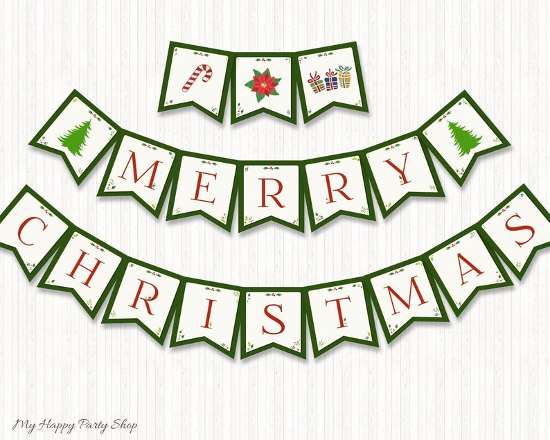 graphic about Printable Merry Christmas Banner named Xmas Banner, PRINTABLE, Merry Xmas Banner, Holiday vacation Flag, Xmas Bunting Banner, Instantaneous Obtain, Electronic document - BSU024