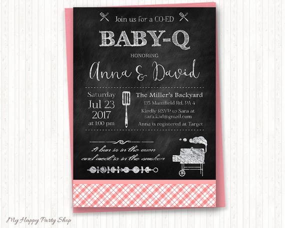 girl bbq baby shower invitation printable pink baby q etsy