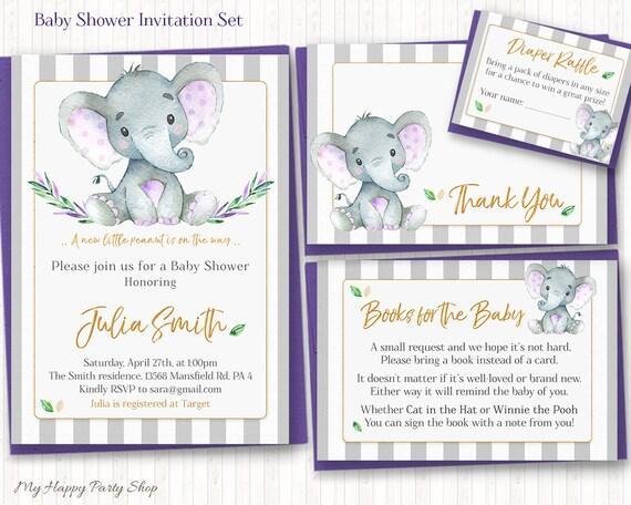 Purple Elephant Baby Shower Invitation Set Printable Little Etsy