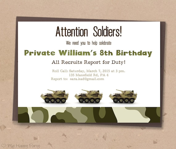 Army Birthday Invitation PRINTABLE Soldier Birthday Party