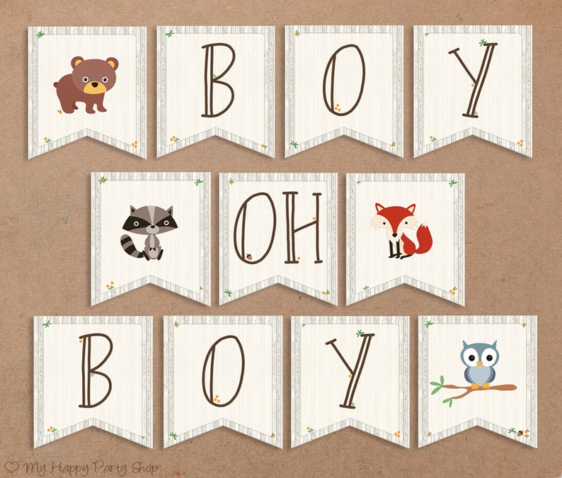 picture relating to Baby Shower Banner Printable called Woodland Boy or girl Shower Banner, PRINTABLE, Boy Oh Boy. Pets Signal, Boy Shower, Owl, Go through Electronic document (11 Flags), Fast Down load - BSU001