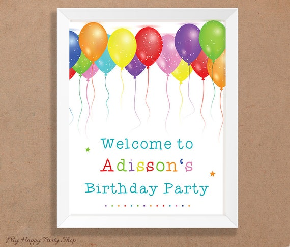 balloons party welcome signprintable custom name birthday etsy