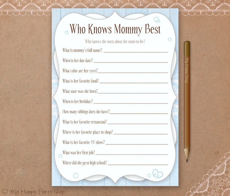 photograph regarding Who Knows Mommy Best Printable called Who Is aware of Mommy Ideal Card, Printable, Boy Little one Shower Online games, Blue Little one Shower, Blue Who Is aware of Mommy, instantaneous obtain, Shabby Stylish Shower