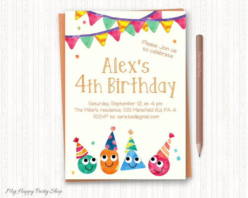 Colorful Birthday Invitation PRINTABLE Clowns Balloons
