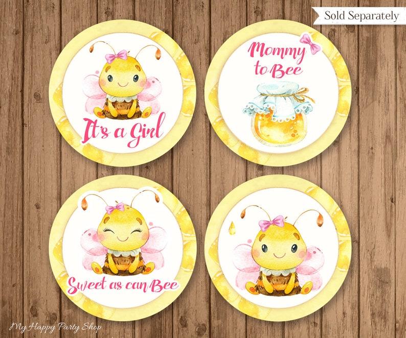 Bee Baby Shower Invitation Set BSU060P Digital PRINTABLE Pink Bee diaper raffle book request Bee Theme favor card Invitation