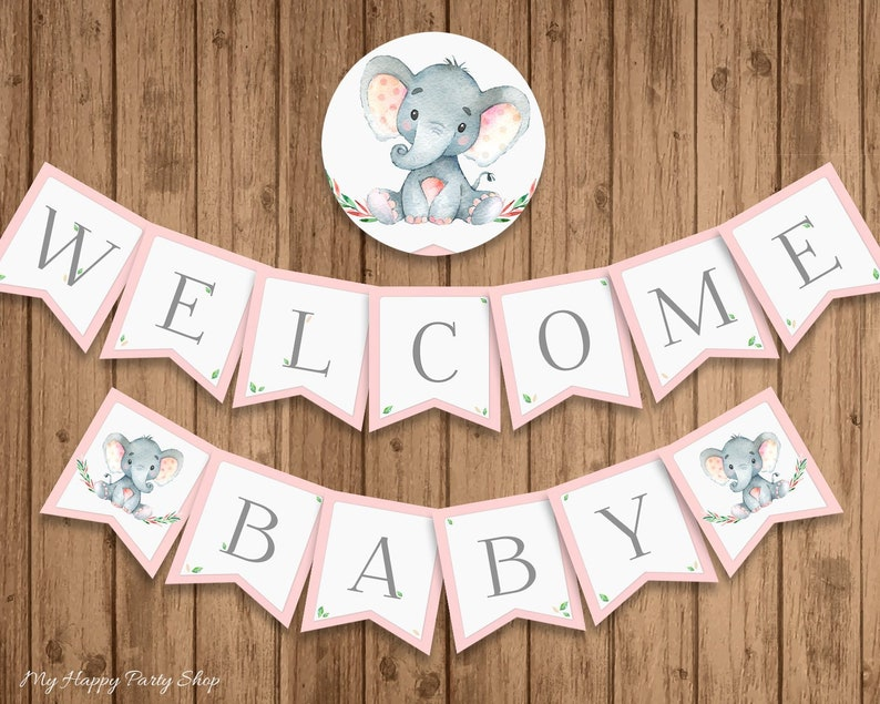 picture regarding Welcome Baby Banner Free Printable called Purple Elephant Little one Shower Banner, PRINTABLE, Welcome Kid, Child Lady, Minor Peanut, Quick Down load - Electronic (13 Flags) - BSU046PI