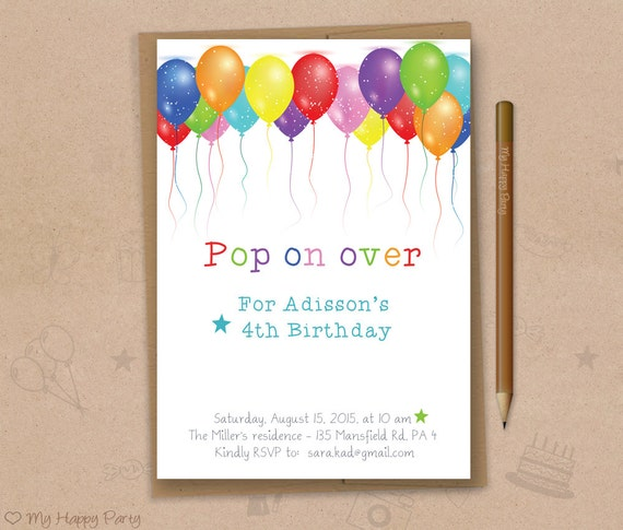 balloon birthday invitation printable balloons party etsy